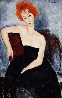 Amedeo Modigliani. Portrait of a redheaded girl in evening dress