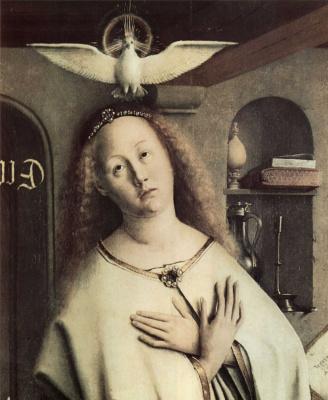 Губерт ван Эйк. Гентский алтарь. Благовещение. Деталь: Мария со святым духом