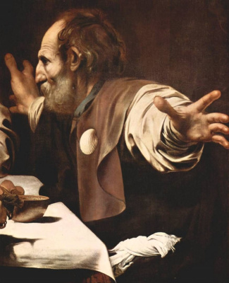 Michelangelo Merisi de Caravaggio. The supper at Emmaus. Fragment