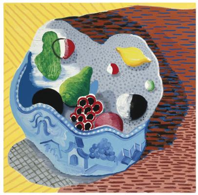 David Hockney. Fruit in a Chinese vase