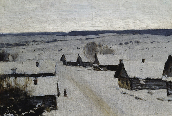 Isaac Levitan. Village. Winter