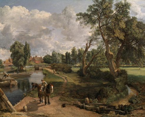 John Constable. Scene on a navigable river. Mill in Flatford