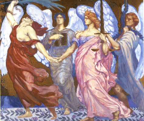 "Jean Delville. Victory of law and justice. Sketch for mosaic ""Victory"""