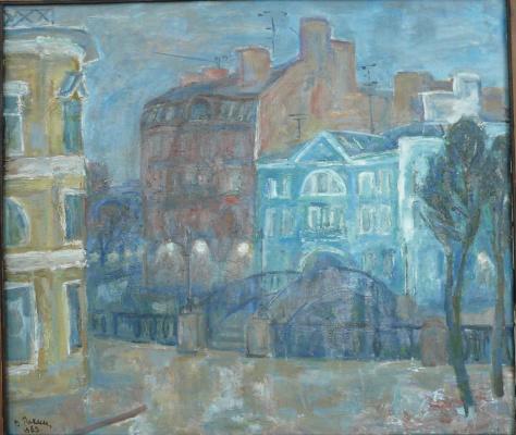 Valentina Ivanovna Rakhina. Houses on the Griboedov Canal. Dusk