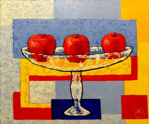 Svetlana Konstantinova. Three apples in a glass vase