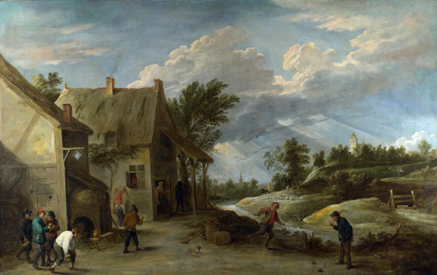 David Teniers the Younger. Peasants play balls for the village