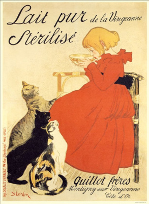 """Theophile-Alexander Steinlen. Promotional poster """"Pure sterilized milk from the banks of Venzhanna!"""""""