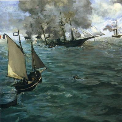 """Edouard Manet. Battle of """"Kearsarge"""" and """"Alabama"""""""