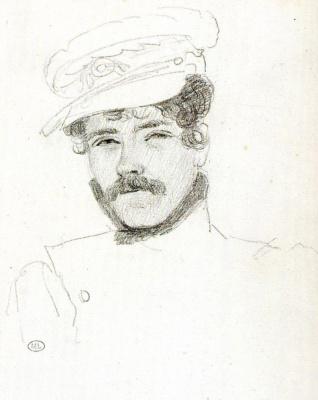 Eugene Delacroix. Self-portrait in a cap