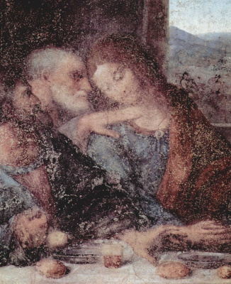 Leonardo da Vinci. The last supper. Fragment
