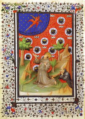Мастер  часослова Бусико. Святой Франциск (миниатюра из часослова маршала Бусико)