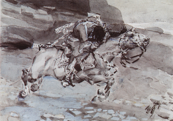 """Mikhail Vrubel. Galloping rider (""""the horse Trots faster DOE...""""). Illustration to the poem by Mikhail Lermontov """"Demon"""""""