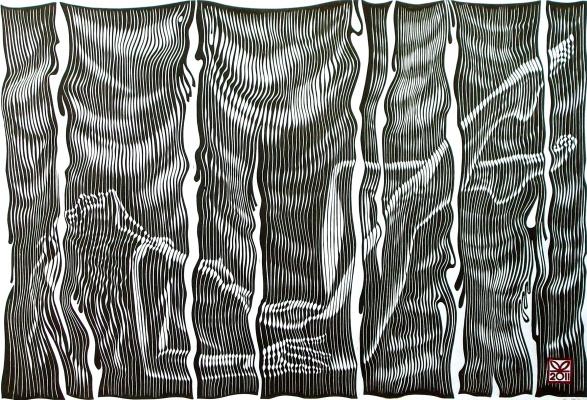 "Vladimir Kataev. ""Zaves-4"", 45 x 66, engraving on linoleum, 2011"