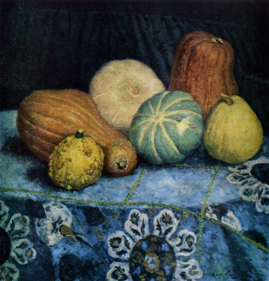 Ilya Ivanovich Mashkov. Pumpkins on the embroidered tablecloth