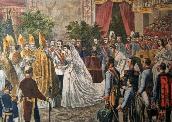 Unknown artist. The wedding of Franz Joseph and Elizabeth of Bavaria
