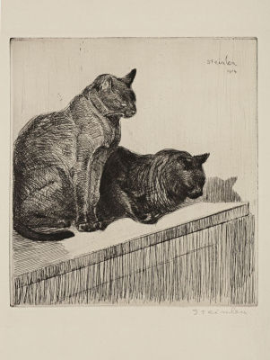 Theophile-Alexander Steinlen. Two cats on a Cabinet