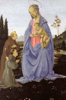Филиппино Липпи. Мадонна с младенцем, Святым Антонием Падуанским и монахом