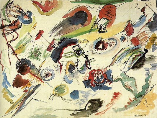 Wassily Kandinsky. First abstract watercolor