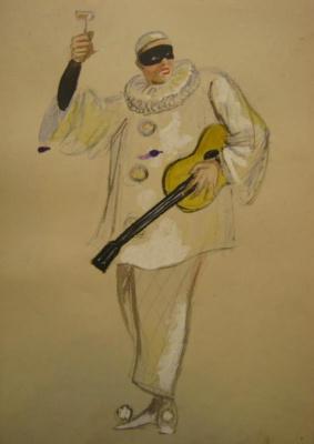 """Vladimir Vasilyevich Popov. A sketch of a men's suit. Mask del arte. """"Masquerade"""""""