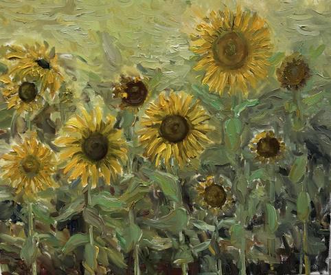 Виктория Мальшакова. Frisky sunflowers.