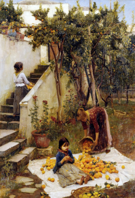 John William Waterhouse. Picking oranges