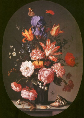 Балтазар ван дер Аст. Цветы в вазе, раковины и ящерица