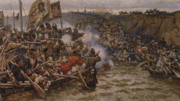Vasily Ivanovich Surikov. The Conquest Of Siberia By Yermak. A smaller version-the repetition of the same pattern