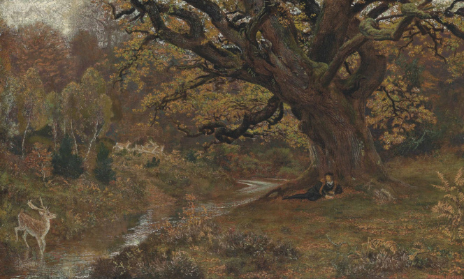 Arthur Hughes. In the Arden Forest: Jacques and the Deer
