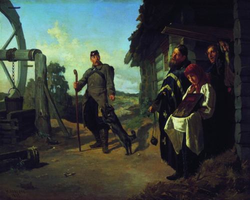 Nikolai Vasilyevich Nevrev. Return of the soldier to his homeland. 1869