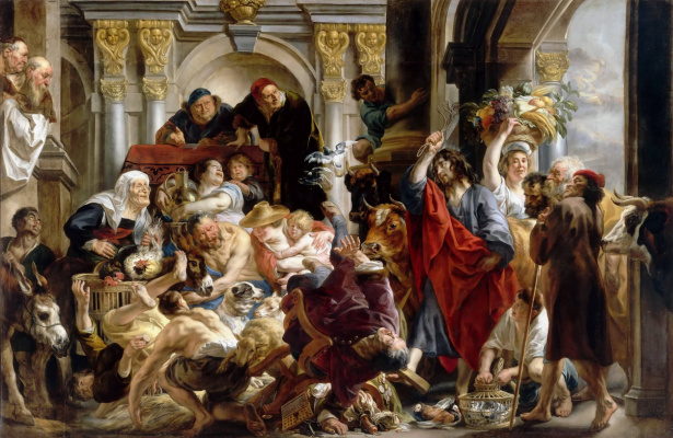 Jacob Jordaens. Expulsion of merchants from the temple