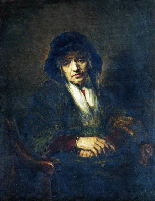 Ilya Efimovich Repin. Portrait of an old woman. A copy of the original Rembrandt of the same name