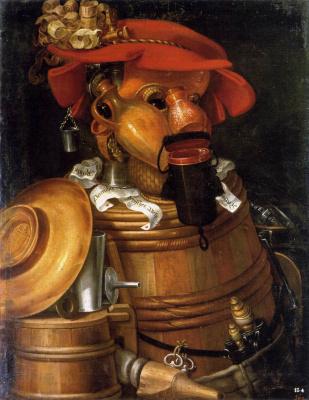 Giuseppe Arcimboldo. The waiter (still life with a keg)