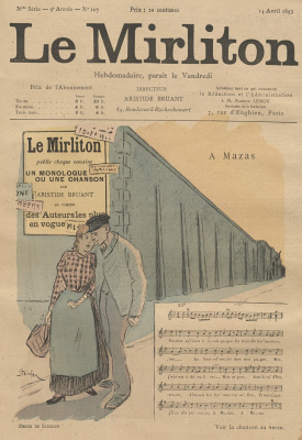 "Theophile-Alexander Steinlen. Illustration for the magazine ""Mirliton"" No. 105, April 14, 1893"