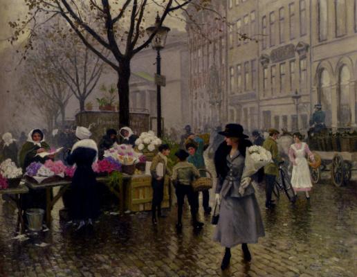 Пол Фишер. Девушка с букетом белых цветов