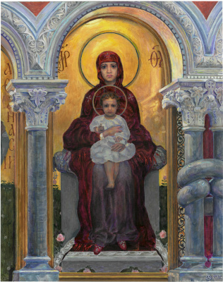 Oleg Mikhailovich Litvinenko. Fragment of the iconostasis of the Cyril Church. Virgin Mary with the Children. (Vrubel M.)