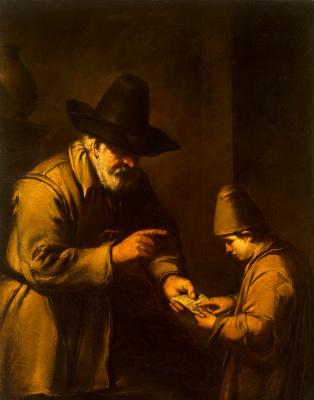 Антонио де Пуга. Старик, обучающий мальчика чтению