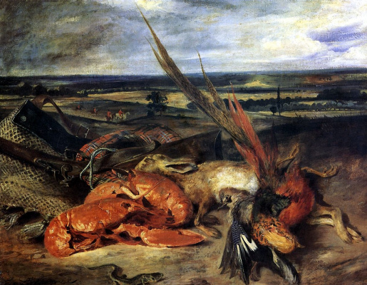 Eugene Delacroix. Still life with lobster and trophies of hunting