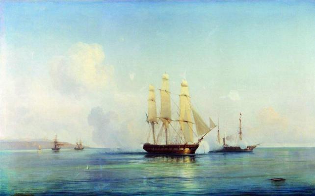 Бой русского фрегата с турецкими кораблями