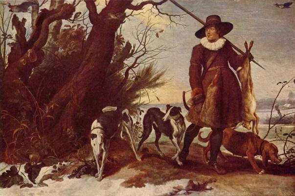 Ян ван Вильденс. Зимний пейзаж с охотником