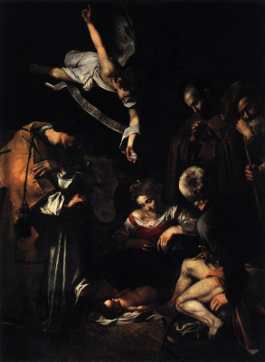 Michelangelo Merisi de Caravaggio. Christmas with St. Francis and St. Lawrence