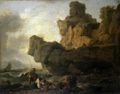 Claude Joseph Vernet. The rocks near the sea