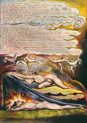 """William Blake. OTR and Enitharmon. Illustration for the poem """"Europe: a prophecy"""""""