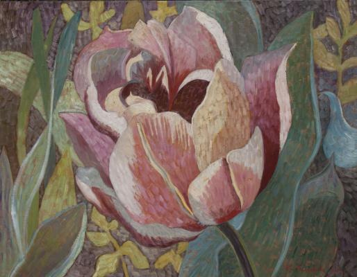 Ekaterina Anatolyevna Kudryavtseva. Strange Tulip in the garden 90х117 H. M. 2014
