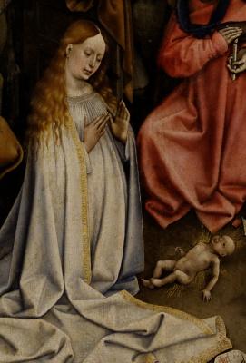 Робер Кампен. Рождение Христа. Фрагмент: Богоматерь с младенцем Иисусом