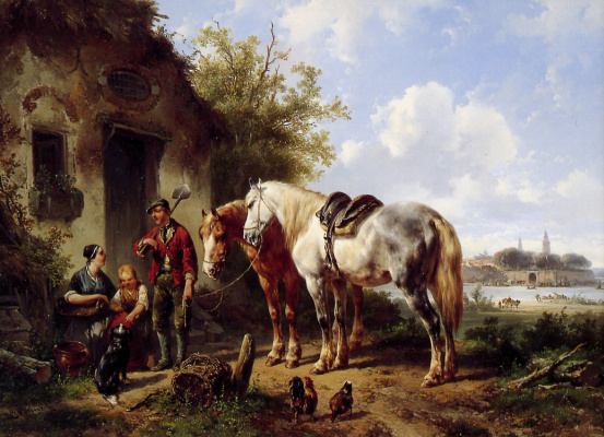 Пейзаж с двумя лошадьми
