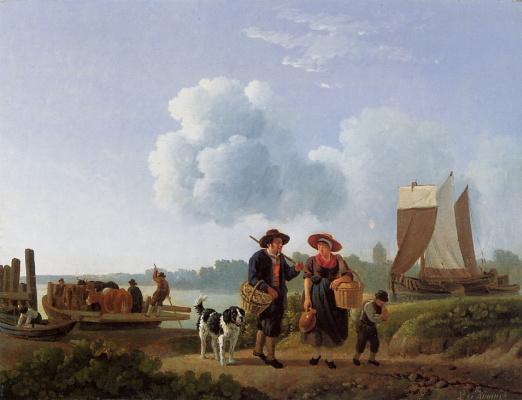 Линдерт де Конинг. Паром с крупным рогатым скотом в Линдерте