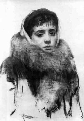 Илья Сергеевич Глазунов. Нина в шубке.1954