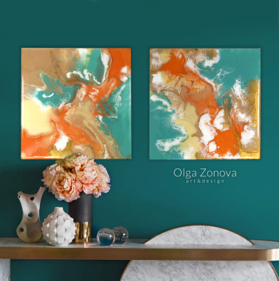 Olga Zonova. Orange Aqua Beige