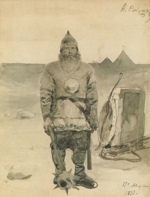 "Andrei Petrovich Ryabushkin. Ilya Muromets. Sketch a series of drawings of ""Russian epic heroes"""