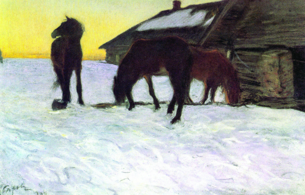 Valentin Aleksandrovich Serov. Colts at a watering hole. Domotkanovo